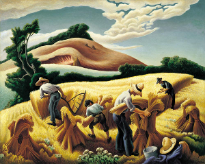 Human Prosperity: Thomas Hart Benton, 'Cradling Wheat'