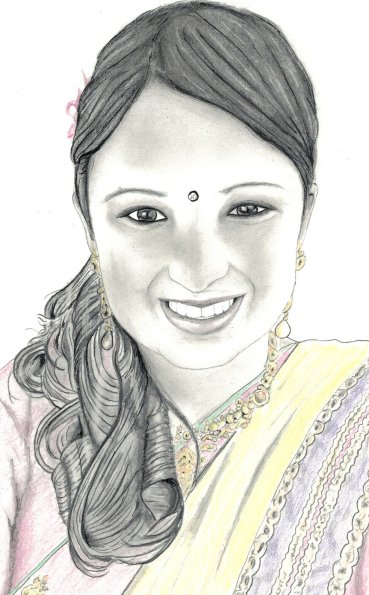 Smiling woman with bindi
