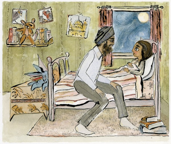 Father wearing dastaar tells bedtime stories to daughter illustration