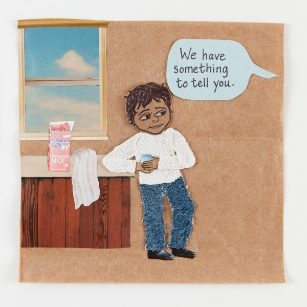 Boy with light brown skin listens to the words 'We have something to tell you.""