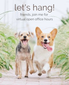 open office hours invite with cute doggos