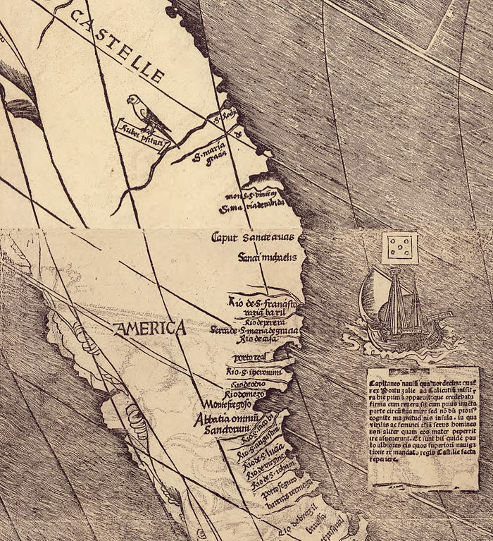 Close up of the Waldseemuller map showing the name America on a map for the very first time.