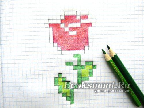 녹색 연필 또는 펠트 펜을 사용하여 자연 색의 잎을줍니다.