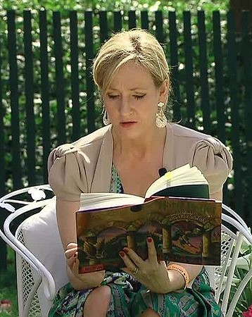 J.K Rowling reading a Harry Potter Book