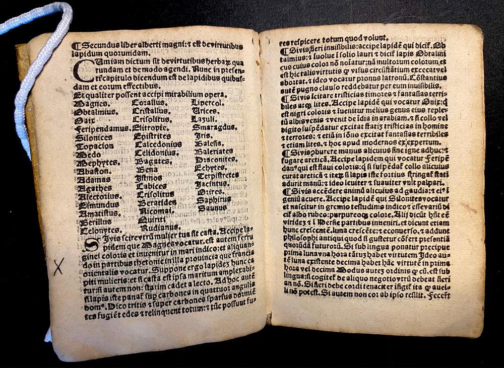 List Page of Liber secretorum. Alberti Magni, 1510