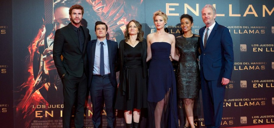 Cast and crew members of the Hunger Games movies. (Image source: focusfilm.co.uk.)