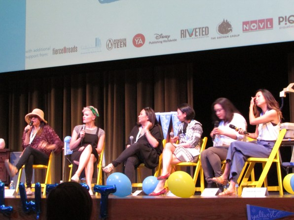 From left to right: Margaret Stohl, Veronica Roth, Melissa de la Cruz, Marie Lu, Maurene Goo, S. Jae-Jones
