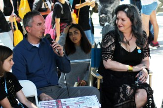 James Dashner and Leigh Bardugo together at a panel with fans.