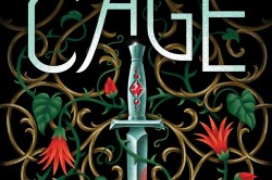 cover for lynette Noni's The Gilded Cage. It features a black background with a motif of vines and red flowers surrounding a silver dagger in the middle. The book's title is in the top third while the author's name is at the very bottom.