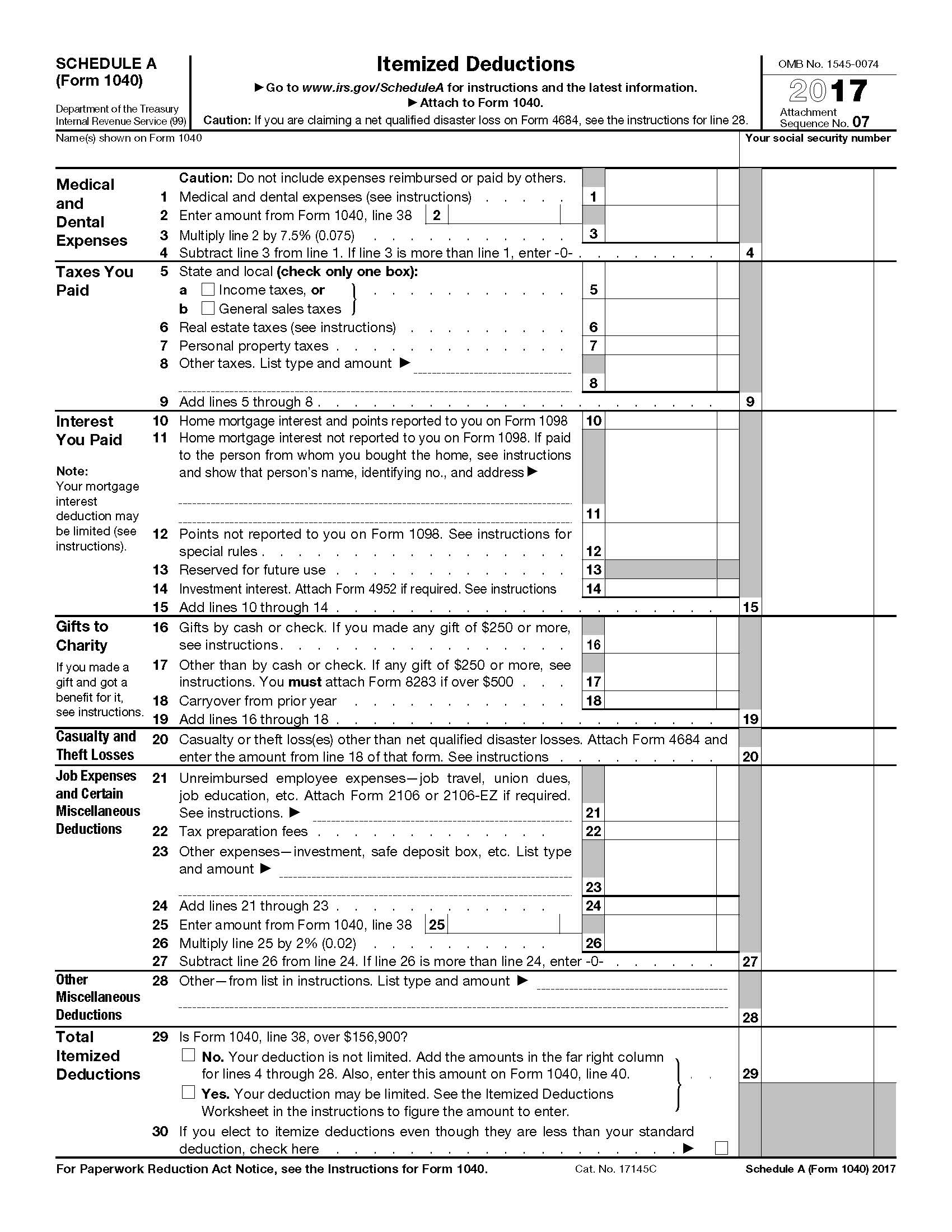 Irs Tax Forms Schedule A Itemized Deductions