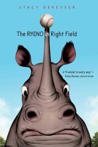 book cover of Rhino in Right Field, by Susan DeKeyser, published by Margaret K McElderry Books | recommended on BooksYALove.com