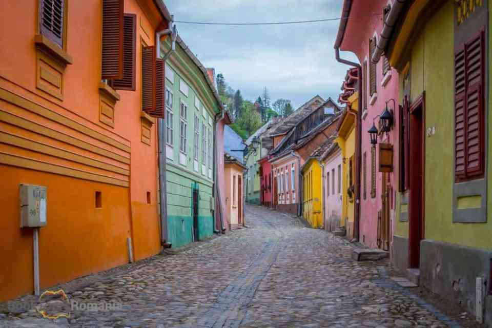 Colorful houses in Sighisoara citadel
