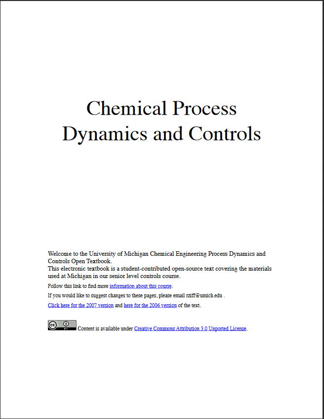 Chemical Process Dynamics and Controls by Peter Woolf
