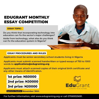 Edugrant Essay Competition 2020 for Senior Secondary School Students