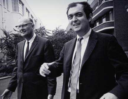 Arthur C. Clarke and Stanley Kubrick during the production of 2001: A Space Odyssey.