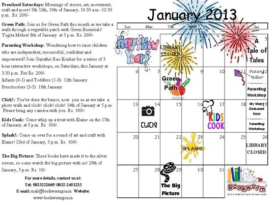 January, 2013 Calendar