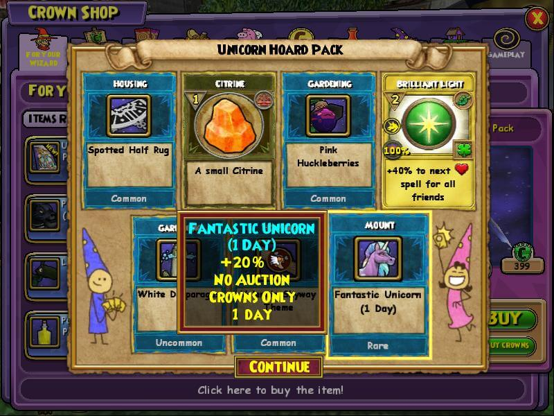 A Peek Into the Unicorn Hoard Pack in Wizard101