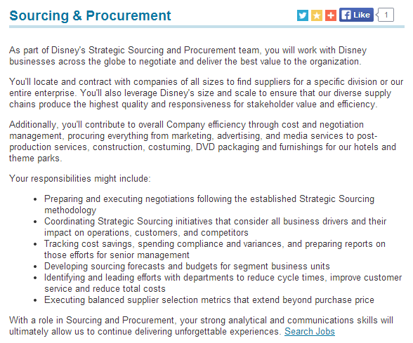 description of disney s sourcing and procurement function from their