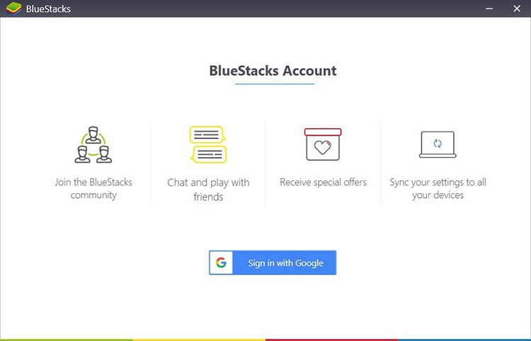 BlueStacks login page