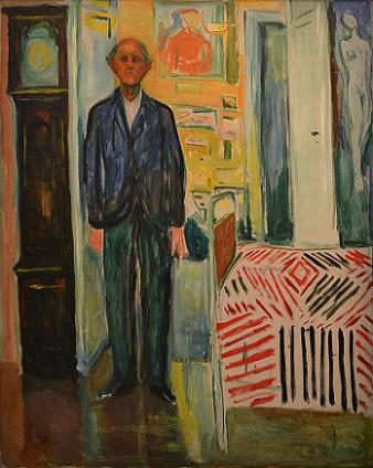 「自画像、時計とベッドの間」1940-43年、エドヴァルド・ムンク作