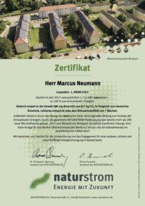 naturstrom-Zertifikat 2017