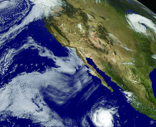 Storm system in the Eastern Pacific Ocean. PHOTO COURTESY OF NASA.