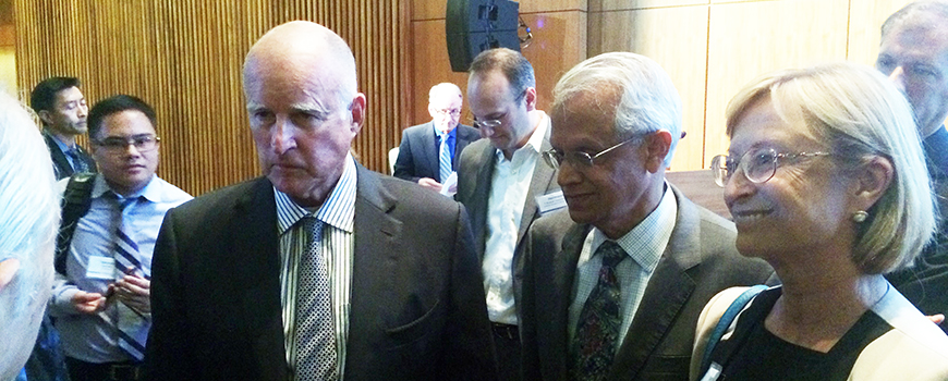 Governor Jerry Brown with Scripps Oceanography climate scientist Veerabhadran Ramanathan at the UC Carbon Neutrality Summit.