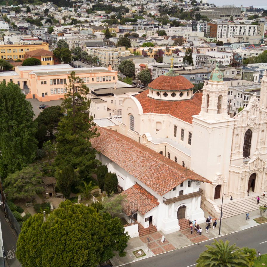 Mission San Francisco de Asís, the oldest surviving structure in San Francisco, has been consumed by the urban mass that it created.