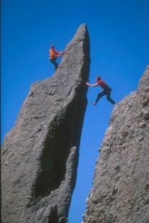 Climbers on John's Jump. Photo: Andrew Burr.