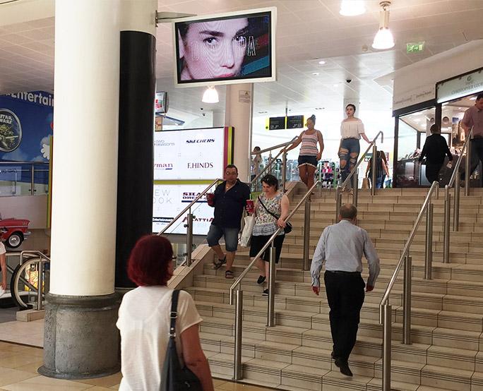 Dua Lipa Iconic in shopping mall