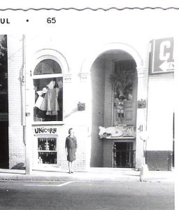 Your Boomer Broadcaster in front of Marilyn Brookes' original Unicorn Boutique in the the old Gerrard Street Village, July 1965, the same month I arrived i the big city to seek my fortune.