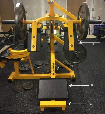 A. Padded Shoulder Harness B. Angled Foot Pad C. Toe Raise platform