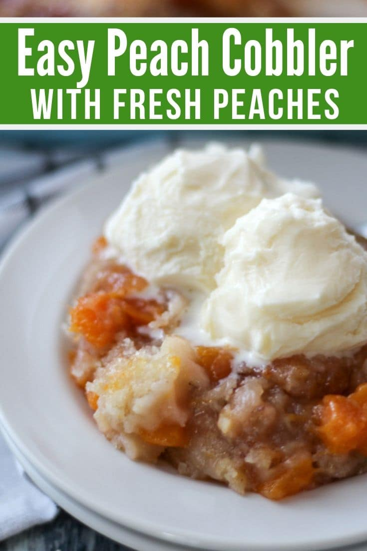 Easy Peach Cobbler on a plate with two scoops of ice cream on top.