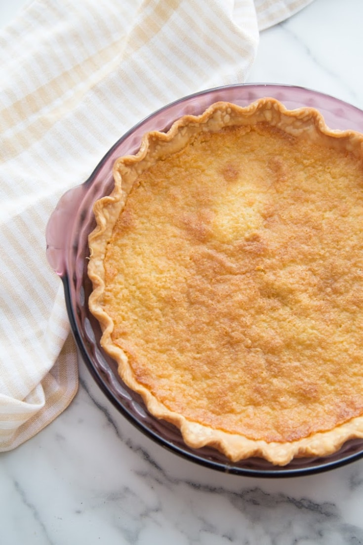finished buttermilk pie not cut into