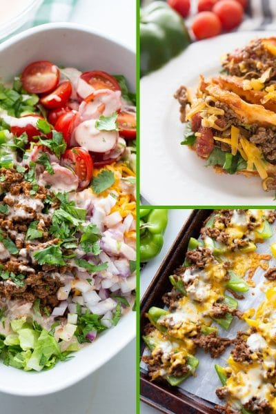 3 final images of Keto Mexican dinners in a collage