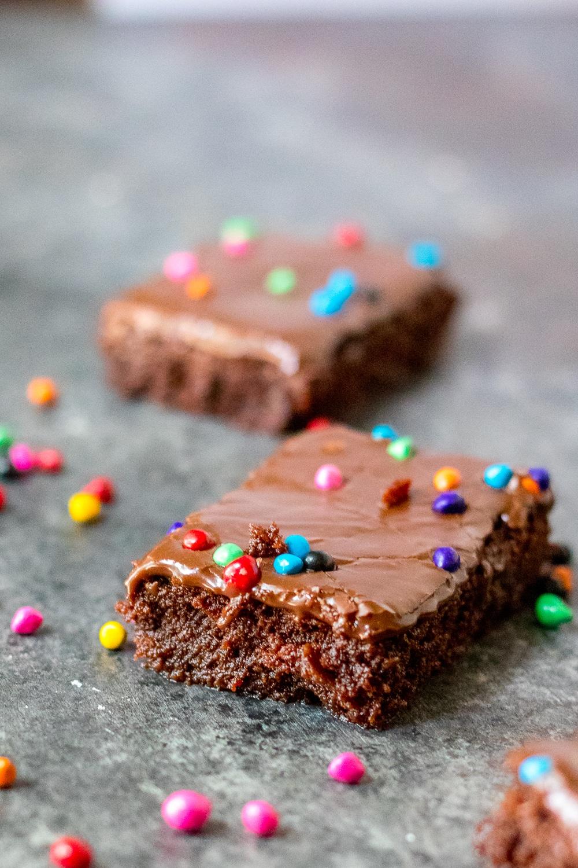 fudge cosmic brownie recipe cut into squares