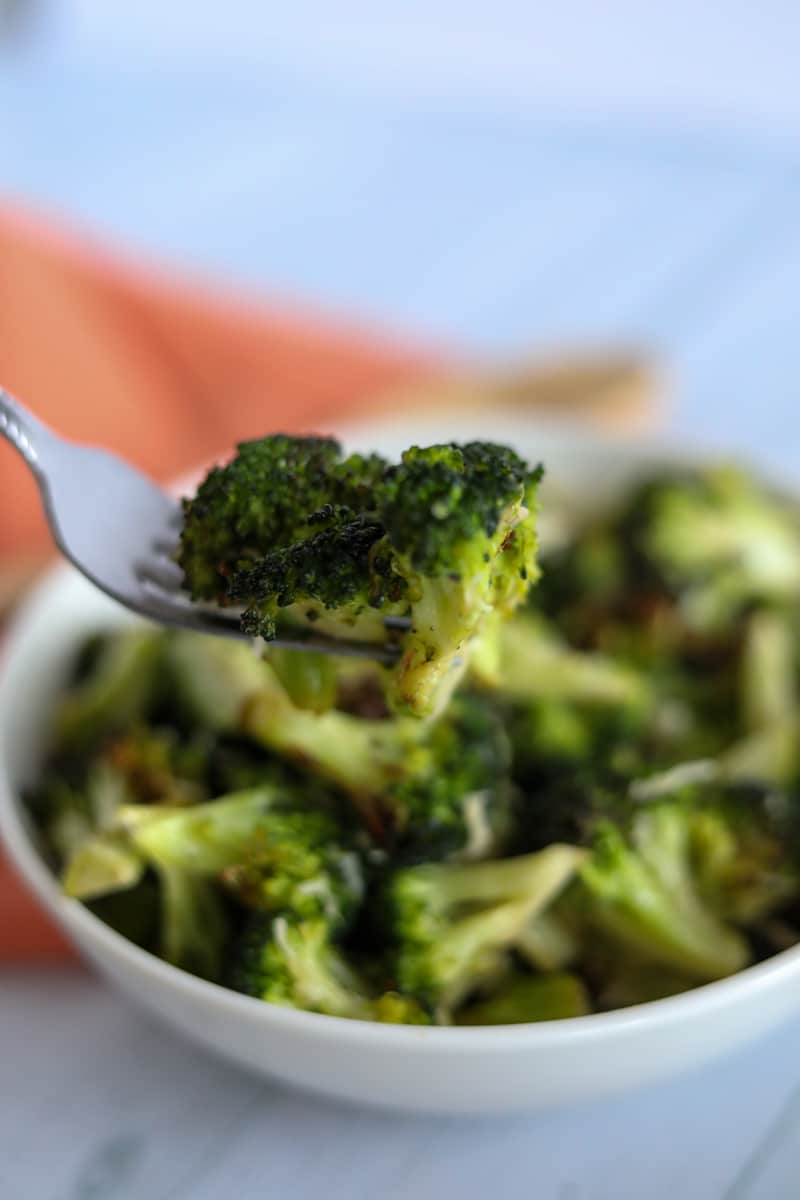forkful of air roasted broccoli