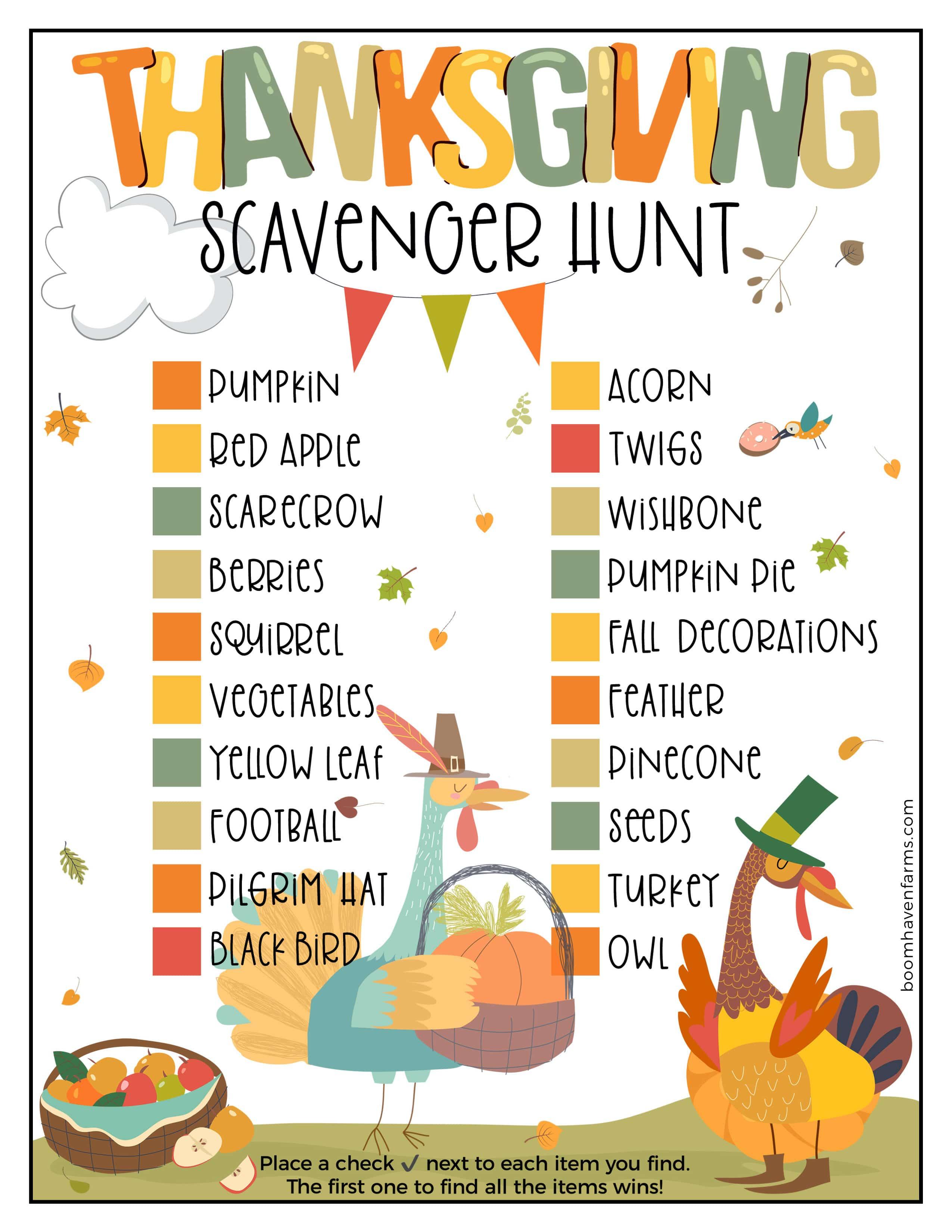Thanksgiving kids treasure hunt PDF.