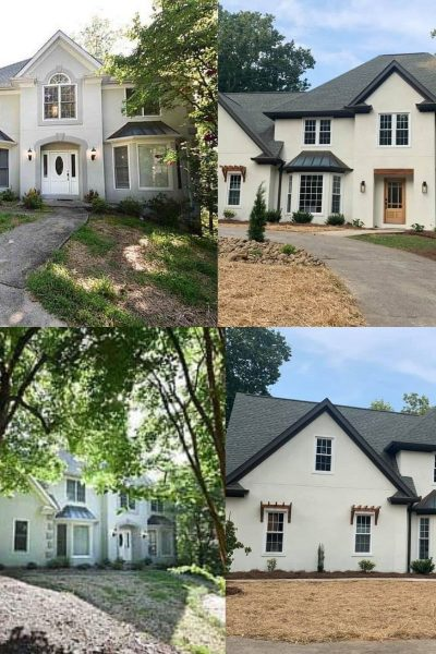 exterior stucco remodel before after picture