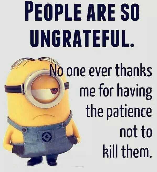 Minions Quotes Funny Sayings People Are So Ungrateful No Patience