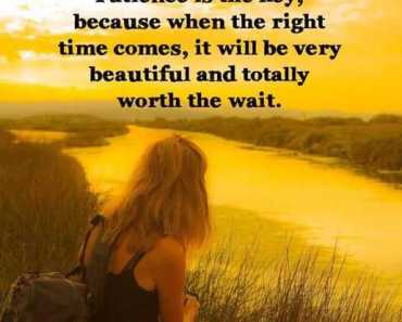 Inspirational life Quotes Patience Is The Key, Worth to Wait For Right Times