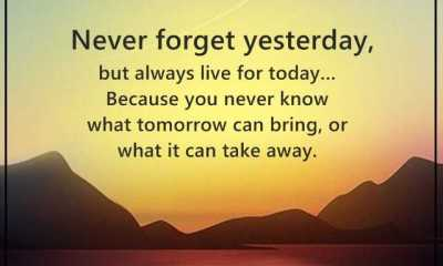 Inspirational Quotes Motivation Never Forget Yesterday, but Always Live