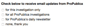 The survey ended like this -- a clever (and non-obtrusive) way to get more subscribers.