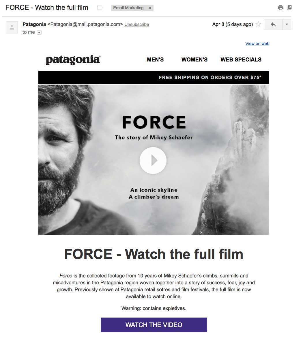 patagonia video email
