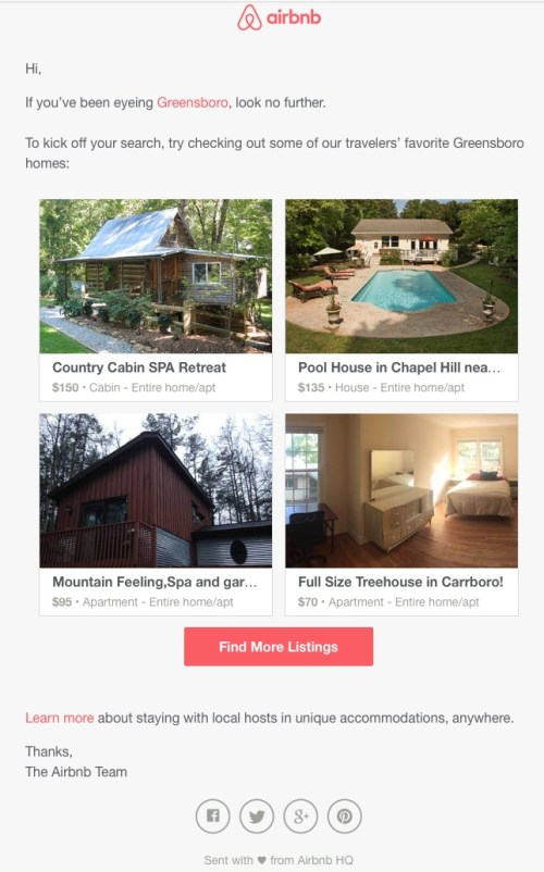 airbnb email suggestions