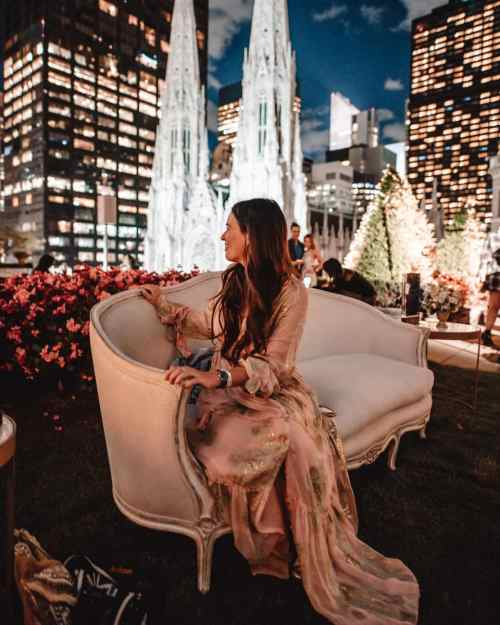 Mel Vandersluis at a rooftop party for a brand in New York City