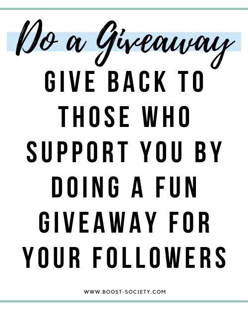 Do a fun giveaway for your audience