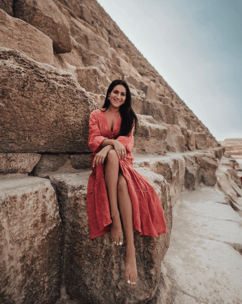 Christina Galbato, at the Great Pyramids in Egypt, has successfully transitioned from influencer to CEO