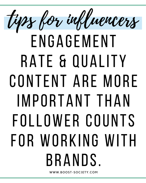 Engagement rate and quality content are more important than follower counts when it comes to working with brands