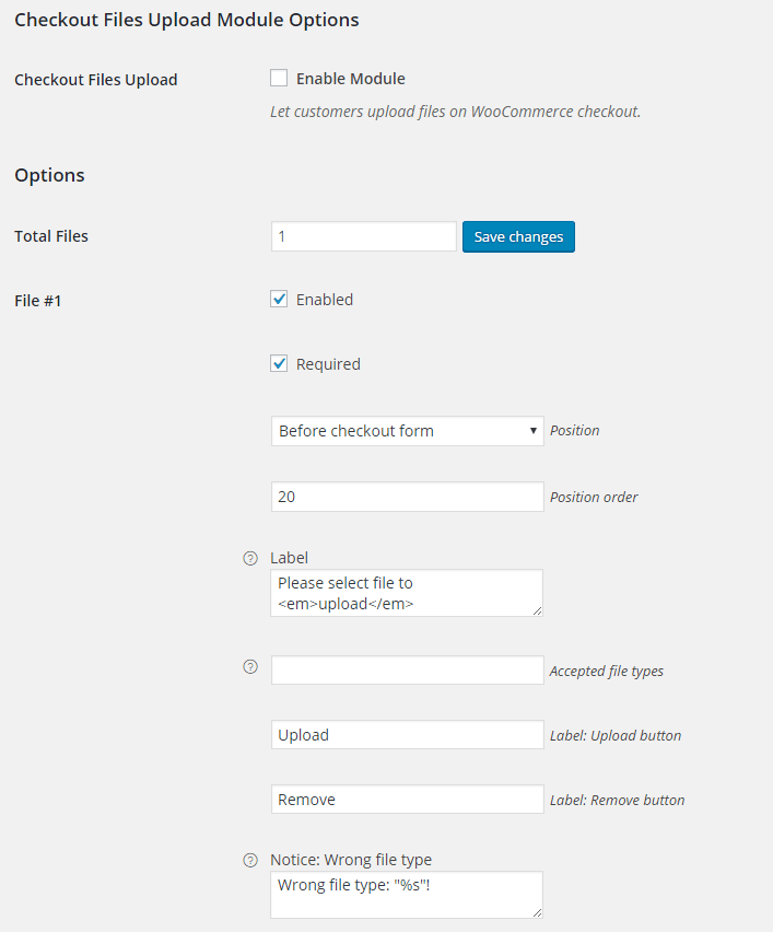 WooCommerce Checkout Files Upload - Backend